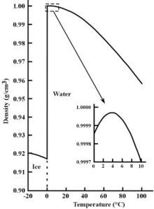 Figure 3: Density of pure water and ice for temperatures from -20°C to 100°C (-4°F to 212°F). The inset shows water's unusual behavior between 0°C to 10°C (32°F to 50°F). Image credit: John Millam