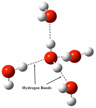 Figure 3. Four water molecules oriented, as required by their hydrogen bonds, around a fifth central molecule. Each of the four surrounding molecules can hydrogen bond to three other water molecules, resulting in a continuous web of hydrogen bonds throughout the entire body of water. Image credit: John Millam