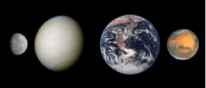 Figure 1: Size comparison of Mercury, Venus, Earth, and Mars in true color. Image credit: Wikimedia Commons/Scooter20 based on Mercury (NASA/JPL); Venus (NASA/Image processing by R. Nunes; Earth (NASA); Mars (NASA and The Hubble Heritage Team (STScI/AURA)