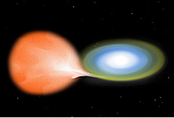 Figure 1: Artist's Rendition of a Nova The white dwarf star (right) over time accretes enough mass from a red giant star companion to undergo an eruption where the luminosity of the system increases by several hundred times. For some white dwarf-red giant systems the eruption recur. Image credit: NASA