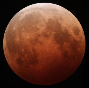 Figure 2: The Moon during a Total Eclipse on October 8, 2014 Credit: Tomruen, Wikimedia/Creative Commons