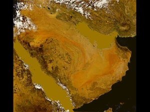 Figure 1: Present-Day Arabia (top) and Arabia during the Last Ice Age (bottom) Map credit: NASA